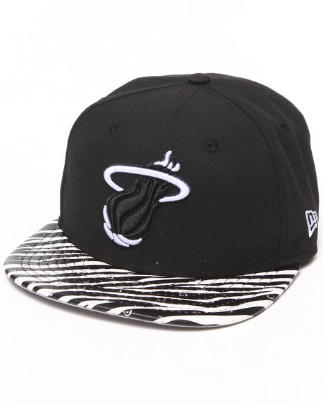 New Era Black,Black Miami Heat Ostrich Vize Zebra Strapback Hat