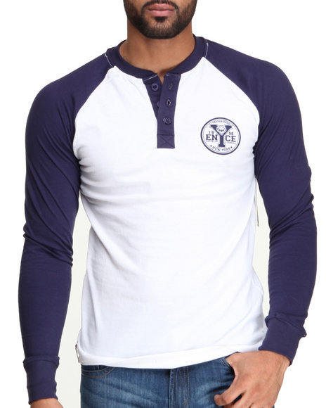 Enyce - Men Navy Flying Tiger Graphic Baseball Henley