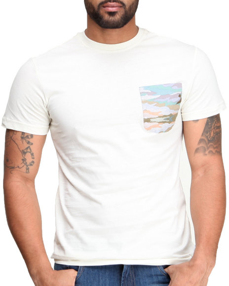 Altamont - Men White Paint By Camo Pocket S/S Tee - $13.99