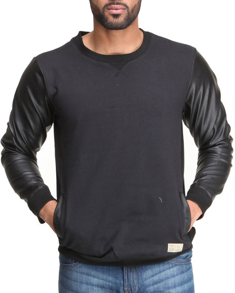 Entree Black Mikkusu Pu Leather Sleeve Crewmeck Sweatshirt