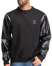 Basic Essentials - Vegan Leather Raglan Zip Off Sleeves Crewneck Sweatshirt