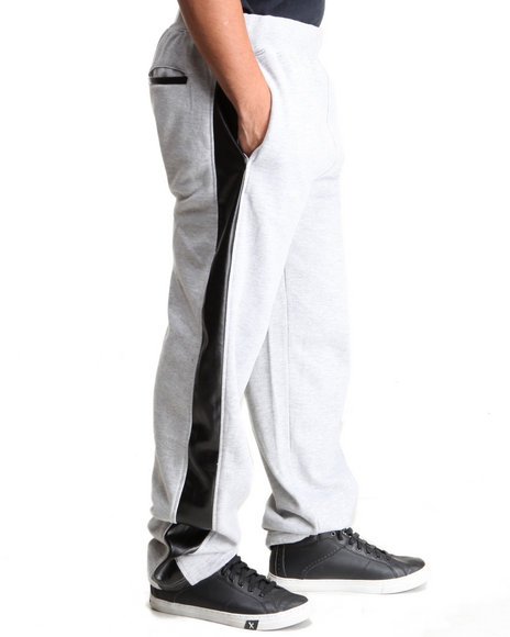 Basic Essentials - Men Grey Vegan Leather Side Stripe Sweatpants