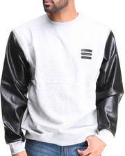 Sweatshirts & Sweaters - Vegan Leather Raglan Zip Off Sleeves Crewneck Sweatshirt