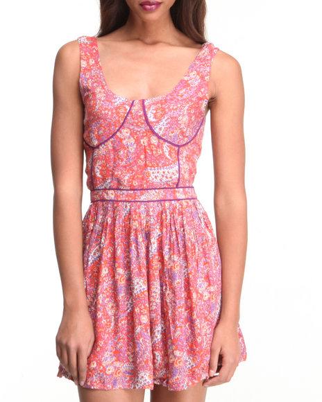 Djp Outlet - Women Orange Floral Print Dress