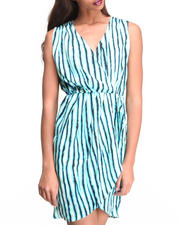 Women - Striped Overlap Dress