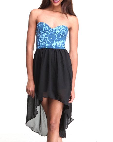 Djp Outlet - Women Blue Chika Foil Tube Dress