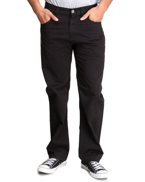 Basic Essentials - Men Black Brushed Twill Pants