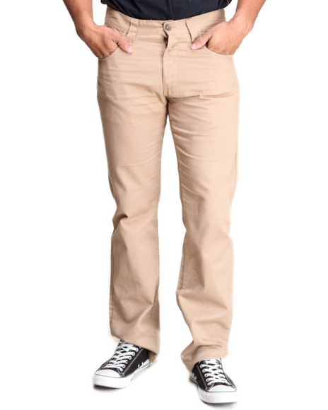 Basic Essentials - Men Khaki Brushed Twill Pants
