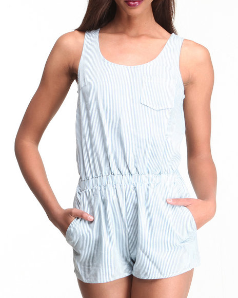 Djp Outlet - Women Blue Blue Striped Romper
