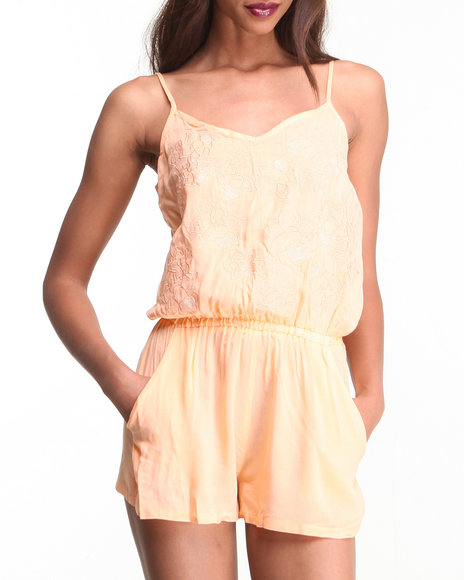 Djp Outlet - Women Orange Peach Romper