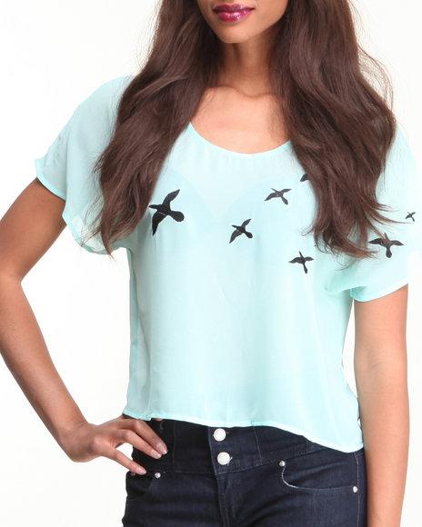 Djp Outlet - Women Tan Sheer Bird Blouse