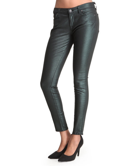 Djp Outlet - Women Green Liquid Metallics Skinny Pant