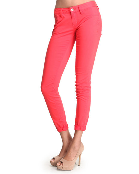 Djp Outlet - Women Red Cult Of Individuality Twill Teaser Skinny Pants