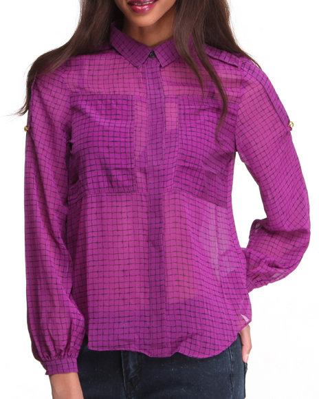 Djp Outlet - Women Purple Checked Print Blouse