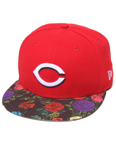 New Era - Men Red Cincinnati Reds Real Floral 5950 Fitted Hat