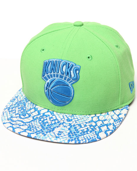 New Era Green New York Knicks Ostrich Vize Snake 950 Strapback Hat