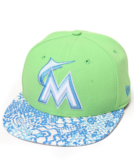 New Era - Men Green Miami Marlins Ostrich Vize Snake 950 Strapback Hat