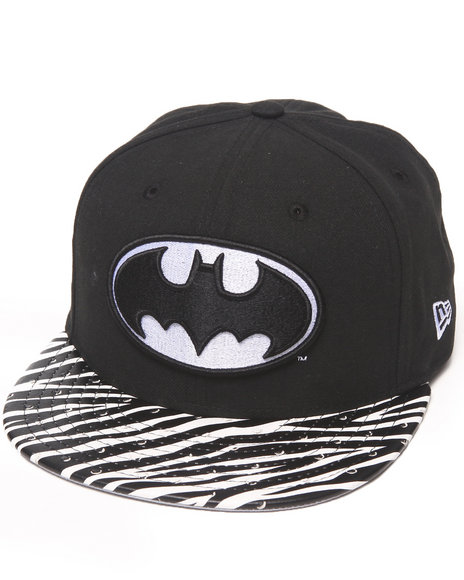 New Era Black Batman Ostrich Vize Zebra Strapback Hat