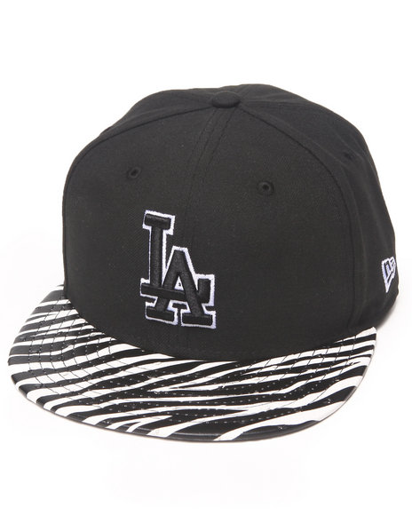 New Era - Men Black Los Angeles Dodgers Ostrich Vize Zebra Strapback Hat
