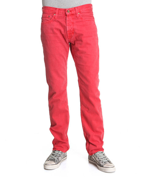 Djp Outlet - Men Red Big Star Division Slim Straight Leg Red Overdyed Denim