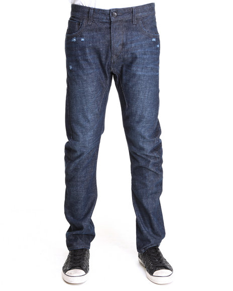 Djp Outlet - Men Dark Wash Item! Oil Wash Skinny Fit Denim Jeans