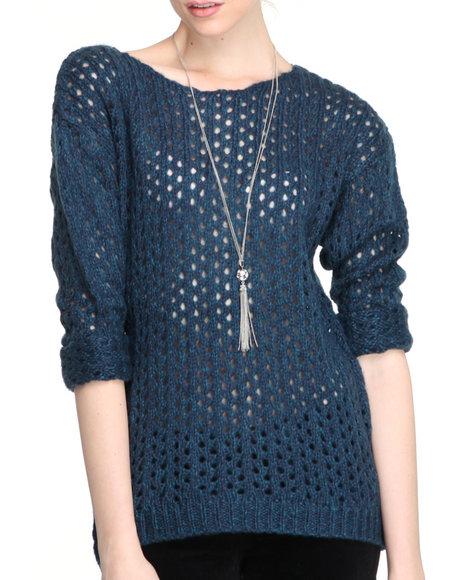 Djp Outlet - Women Navy Marbeled Open Stitch Sweater - $16.99