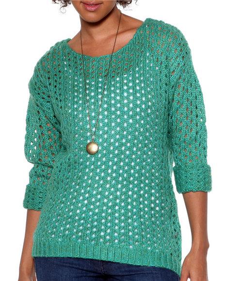 Djp Outlet - Women Teal Marbeled Open Stitch Sweater