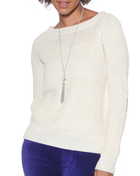 Djp Outlet - Women  Scoopneck Lurex Sweater W/ Elbow Patch - $15.99