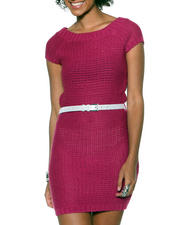 Holiday Shop - Women - Sweater Dress w/ Metallic Belt