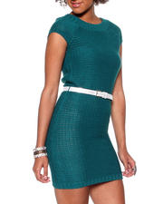 Party - Sweater Dress w/ Metallic Belt