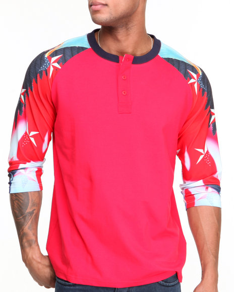 Double Needle Red Iron Eagle Raglan Henley