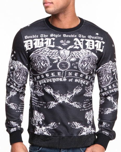 Double Needle Black Anarchy Sublimated Crewneck Sweatshirt