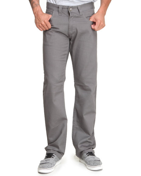 Basic Essentials - Men Charcoal Brushed Twill Pants