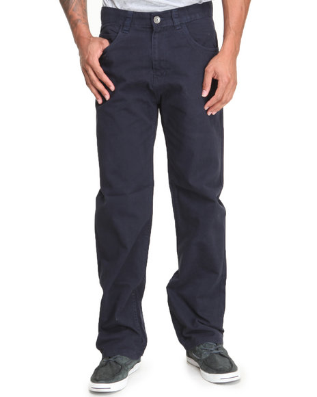Basic Essentials - Men Navy Brushed Twill Pants - $15.99