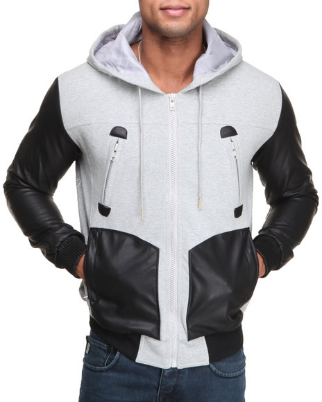 Double Needle Grey Dark City Zip-Up Hoodie