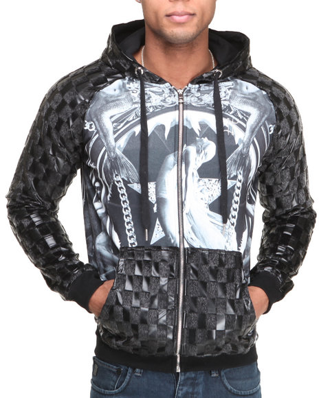 Double Needle - Black Mermaid Faux Fur and Leather Zip-Up Hoodie