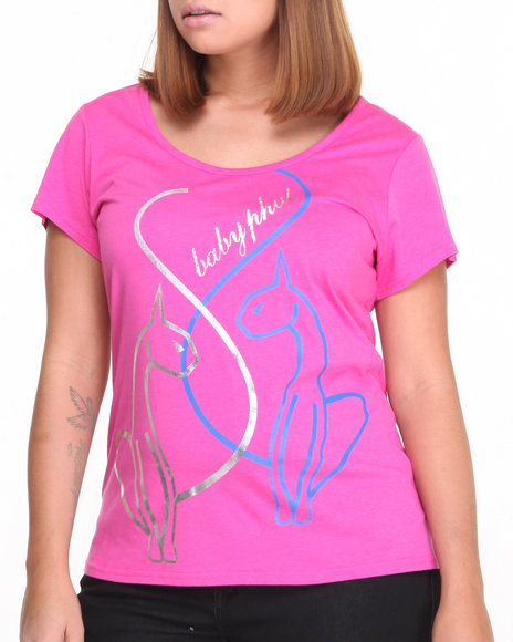 Baby Phat - Women Pink Cat Scoop Neck Tee (Plus)