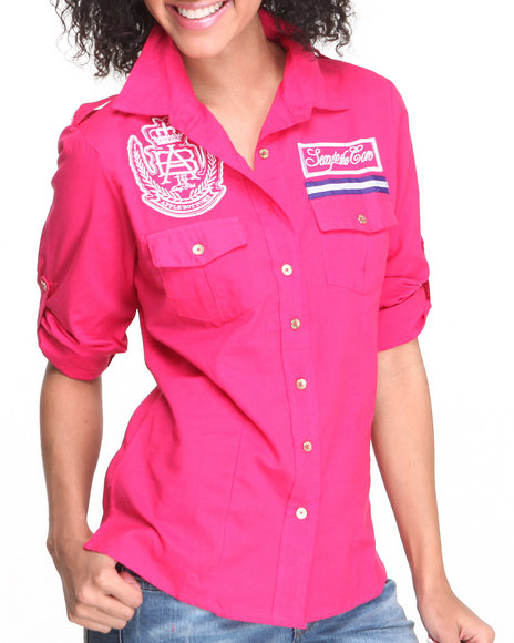Apple Bottoms - Women Pink Roll-Up Sleeve Woven Shirt - $16.99