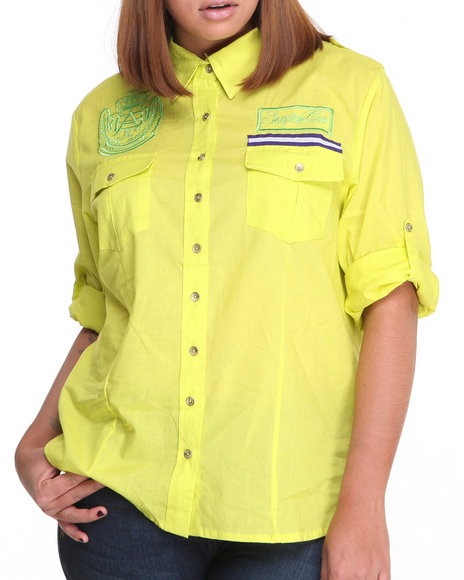 Apple Bottoms - Women Lime Green Roll-Up Sleeve Woven Shirt (Plus)