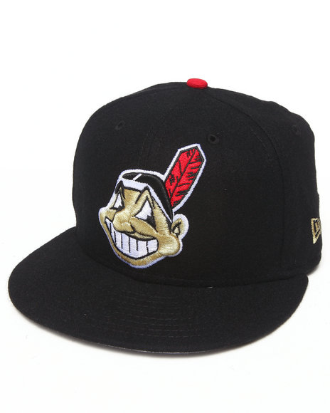 New Era Black Cleveland Indians Gold Member Edition 950 Snapback Hat