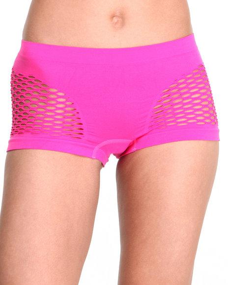 Drj Lingerie Shoppe - Women Pink Mesh Sides Seamless Short