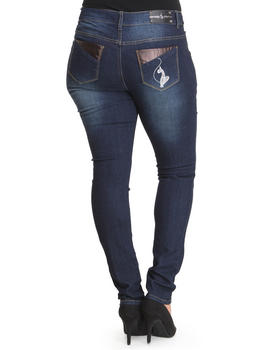 Baby Phat - Vegan Leather Trim Back Pocket Skinny Jean (Plus)