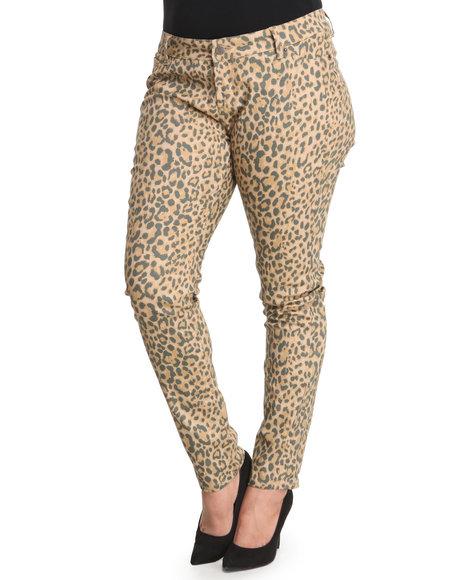 Basic Essentials Animal Print Cheetoh Animal Print Skinny Pant (Plus Size)