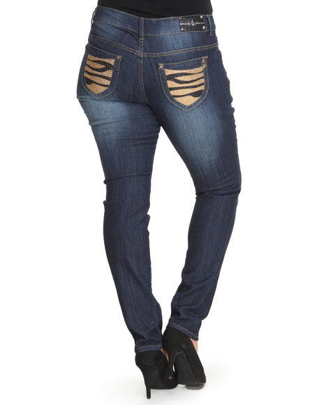 Baby Phat - Women Medium Wash Studded Tiger Back Pocket Skinny Jean (Plus)