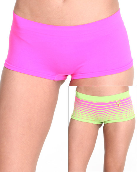 Drj Lingerie Shoppe - Women Lime Green,Pink Stripe Solid 2Pk Seamless Short
