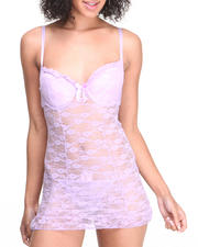 Women - Lace Trim Open Back Chemise