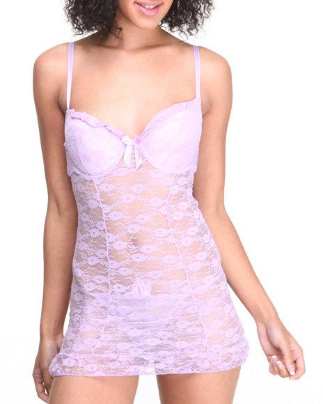 Drj Lingerie Shoppe - Women Violet Lace Trim Open Back Chemise