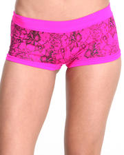 Women - All-Over Lace Print Seamless Short