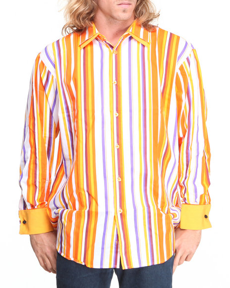 Basic Essentials - Men Orange Striped Woven Shirt