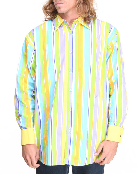 Basic Essentials - Men Blue,Yellow Striped Woven Shirt - $12.99